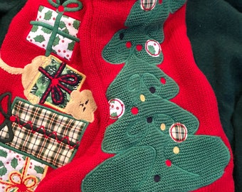 Pair of Recycled Kitty Christmas Sweater Stockings