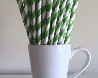 Green Paper Straws Kelly Green Striped Party Supplies Party Decor Bar Cart Cake Pop Sticks Mason Jar Straws  Party Graduation