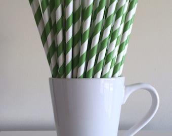 Green Paper Straws Kelly Green Striped Party Supplies Party Decor Bar Cart Cake Pop Sticks Mason Jar Straws  Party Graduation
