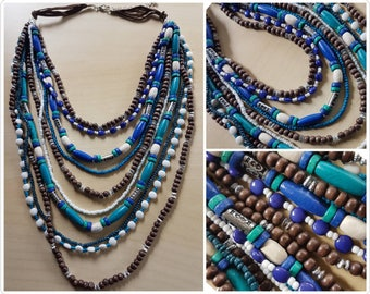 Funky multi strand necklace - cool colours - beaded necklace - handmade multi strand necklace - funky necklace - wooden bead necklace - blue