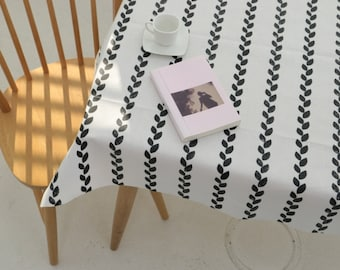 """Matte Laminated Cotton Fabric by the yard Scandinavia style_ Black Leaves _43.3"""" wide CH21264"""