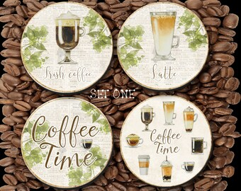 Coasters Coffee Lovers, Latte, Irish Coffee, Cappuccino, Mocha, Espresso, Coffee Coaster, Coffee Lovers, Anniversary - 0047