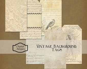 Vintage Background Tags Neutrals Collage Sheet Digital Download