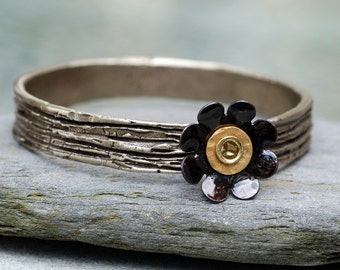 Bangle Bracelet, Bronze, Enamel Flower, Copper Enameled Jewelry, Black Rose