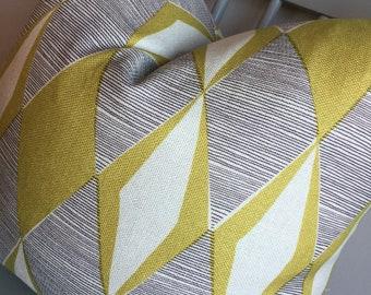 Designer Fabric mid century modern pillow cover citron gray yellow cream throw euro sham extra long lumbar geometric multi sizes