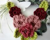 Crochet Flower Necklace #1,crochet necklace,flower necklace,mori necklace, romantic, bohemian,shabby chic,