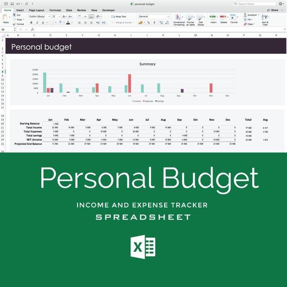 Budget-Tabelle Excel-Vorlage für persönliches Budget Hause