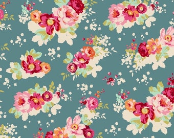 Tilda Caggage Rose Memory Lane Flowercloud Teal by Tone Finnanger, Fat Quarter, Out Of Print