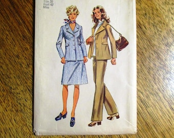 "PREPPY 1970s Three Piece Suit (A Line Skirt, Fitted Jacket & Pants) - Plus Size 20 (Bust 42"") - UNCUT Vintage Sewing Pattern Simplicity 9837"