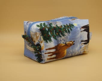 Winter Horses Bag, Horse Travel Bag, Silent Night Case, Christmas Ditty Bag, Pony Pencil Case, Zip Pouch, Toy Bag, Gifts for Girls