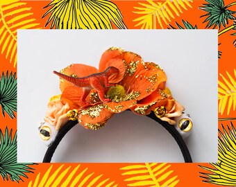 Magical Orange Dinosaur, Flower and Eye Hairpiece / Crown // Festival, Psychedelic, Trippy, Hippy, Boho, Bohemian
