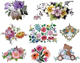 Flowers, Digital Floral Images, Flower Graphics, Printable Clipart, PDF, png and jpg