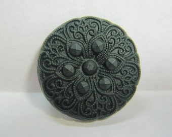Medium Size Vintage Black Glass Button with Brass Shank