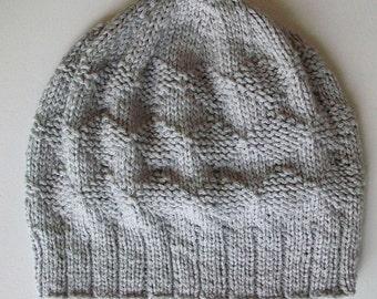 Slouchy Knit Hat Diamond Knitting Pattern PDF