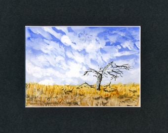Cloudy Sky Lone Tree Watercolor-Landscape-Wedding-Man Gift-Art Collector-Original