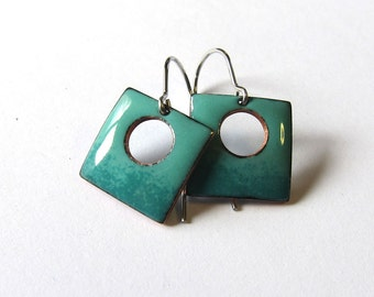 Small teal enamel earrings Turquoise green square drops Enameled jewelry Dainty surgical steel, silver, niobium or gold wire earrings
