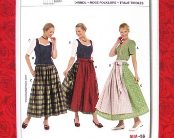 Burda Sewing Pattern 7870 Bavarian Folk Costume, Dirndl Skirt, Top Blouse, Apron, Bodice, Women's Sizes 12 14 16 18 20 22 24 26 28 30, UNCUT