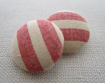 Chunky Red Stripe Shank Button 29mm