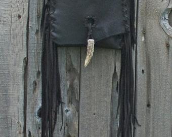 Leather handbag , Fringed leather purse , Fringed leather crossbody bag