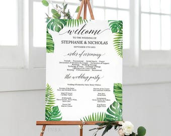 Tropical Wedding Program Sign Template, Wedding Program Poster,Wedding Program Template,Wedding Program Printable,Instant Download PDF #E027