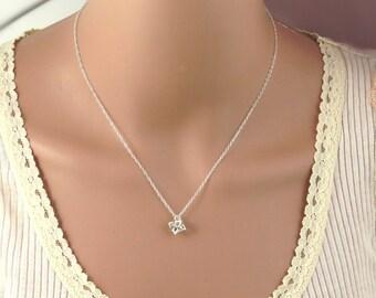 Silver tiny star necklace, tiny merkaba necklace, tiny star of david necklace