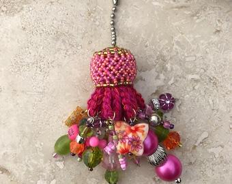 Light Fan Ball Chain Pull - Beaded Tassel - Pretty in Pink Butterfly