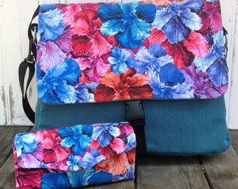 Watercolor Flowers Messenger Bag and Wallet Clutch Set