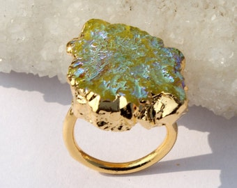 24k Gold Electroformed Green Flower Shape Druzy Ring, Druzy Flower Ring, Mineral Druzy Jewelry, Statement Ring, Adjustable Gold Ring GD04
