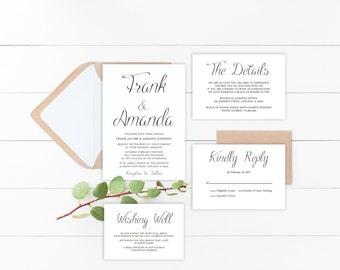 Simple Wedding Invitation Printable Suite, Calligraphy Wedding Invite Set, Classic Wedding Invitation Suite, RSVP, Details, Printed