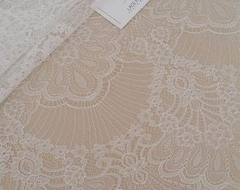 Ivory lace fabric by the yard, French Chantilly Lace, Embroidered eyelash lace, Bridal lace, White Lace, Veil lace, Lingerie Lace LGF8850
