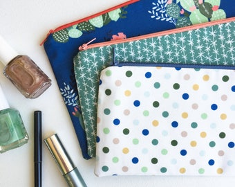 Womens Zipper Pouch, Gift for Her, Cactus Pencil Case, Blue Pencil Pouch, College School Supplies, Organizer Bag, Makeup Bag, Cosmetic Bag