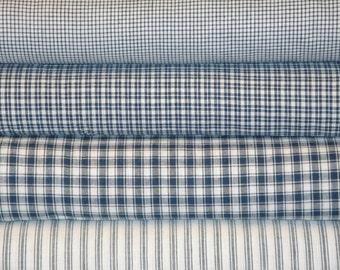 Homespun Fabric Blue Fat Quarter Bundle Of 4 | Fat Quarter Fabric