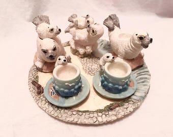 Cute Miniature Tea Set With White Harp Seals Baby Cute Design 10 Piece Teapot