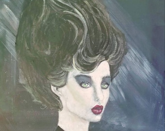 Fantasy portriat gothic girl 11x14 original on canvas