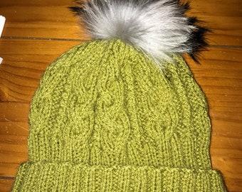 Aran woolly pompom hat
