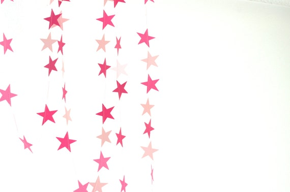 Pink Stars Garland - light and dark pink, custom colors available