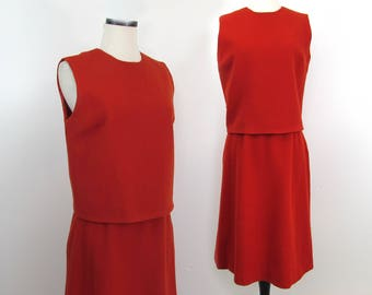 60s Dark Red Wool Skirt and Sleeveless Top set by Russ - Sm