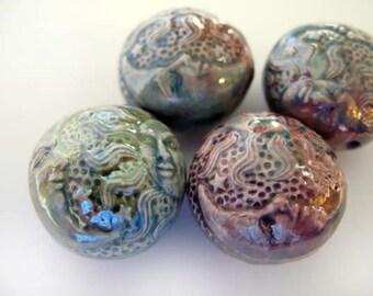 4 Raku Celestial Beads - RAK284