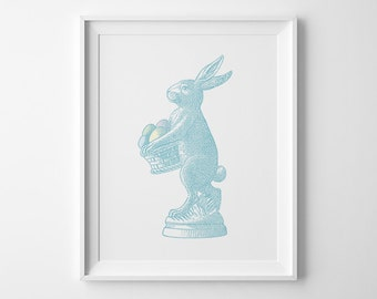 Easter Decor, Easter Bunny Print, Blue Kids Wall Art, Pastel Bunny Rabbit Art, Spring Decor, Blue Boys Bedroom Decor