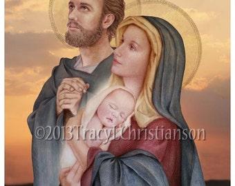 The Holy Family, St. Joseph, Virgin Mary and Infant Jesus Catholic Print (C) #4018