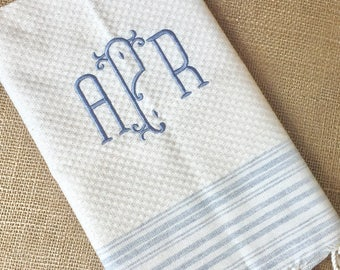 Personalized Turkish Towel / Monogrammed Tea Towel / Hand towel with monogram / custom kitchen towel / bridal wedding gift / hostess gift