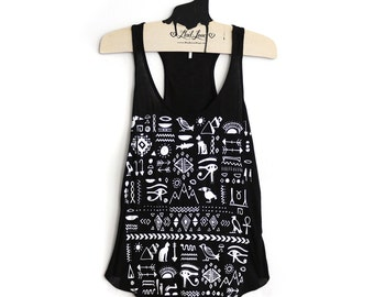 Small- Black Thin Racerback Tank Side Slits with Egyptian Print