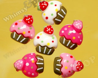 6 - Kawaii Colorful Cupcake Pink Sprinkles Resin Decoden Flatback Cabochons (R4-037-039)