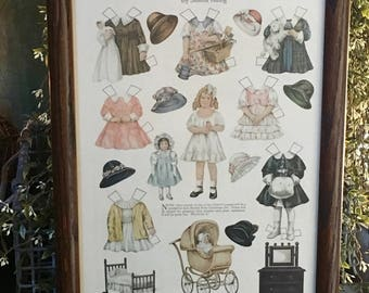 Paper Doll Vintage Framed Ladies Home Journal 1916 Betty Bonnet