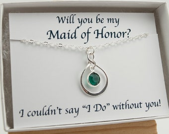 Will You Be My Maid of Honor Gift, Asking Maid of Honor, Emerald Necklace May Birthstone Necklace, Infinity Necklace, May Birthday Gift