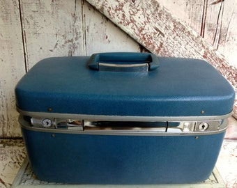 Train Case Samsonite Luggage Blue vintage Carry On Cosmetic Case Toiletries Bag hard shell case