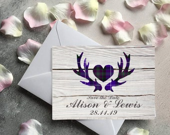 Scottish Wedding Stag Save the Date Cards | Wedding Invitation Save the Date | Save the date | Scottish Wedding, Pride of Scotland, Tartan