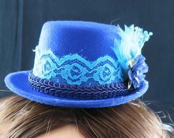 Royal Blue and Turquoise Mini Top Hat Fascinator