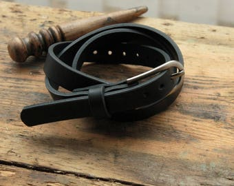 Womens leather belt, black leather belt, womens gift, cowhide belt woman, Gift for Her