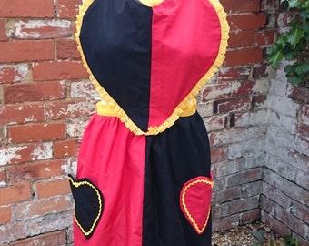 Handmade Custom Alice in Wonderland Queen of Hearts Fairytale Apron Fancy Dress Cosplay One of a Kind